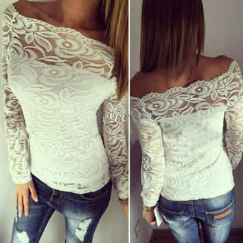 Lace Tops Hot Sale Strapless T-shirts Women's Fashion Bottoming Shirt [4956168580]