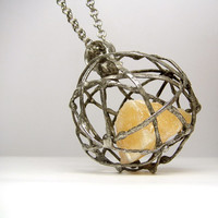 Jewelry by AMW - Stone Pendant - Natural Raw Stone Huge Yellow Sphere Calcite Necklace