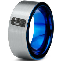 Tardis Doctor Who Silver Blue Tunsten Ring