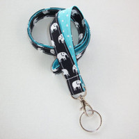 Lanyard Id Holder Key Leash badge holder - white elephants navy aqua polka dots