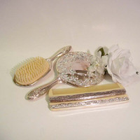 Vintage Vanity Set Brush, Mirror and 2 Combs Silver Repousse