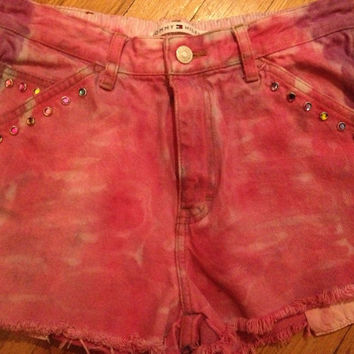 Womens Tommy Hilfiger Custom Vintage high waisted Distressed Studs Ombre Denim Jean Shorts Sz 6