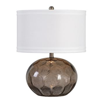 Jasperse Smoky Amber Contemporary Seeded Glass Accent Lamp by Uttermost