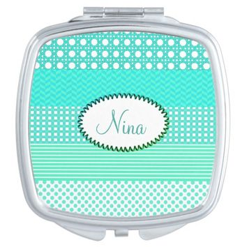 Pastel Turquoise Pattern Mix Makeup Mirror