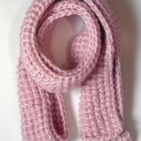 Long Pink Handmade Knit Scarf