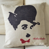 Charlie Chaplin Print Decorative Pillow [050] : Cozyhere