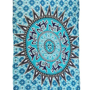 Bluish Medallion Pattern Tapestry Cotton Yoga Mat