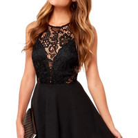 Black Bohemian Floral Lace Skater Dress