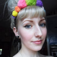 Rainbow Queen Candy Girl Pom Pom Party Headband
