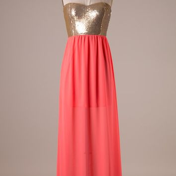 Style Rack Neon Coral Maxi Dress with Gold Sequined Bodice