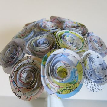 "Old Gas station road map Roses on stems, 1.25"" Paper flowers bouquet, one dozen, recycled art, bridal shower decoration party decor one dz 12"