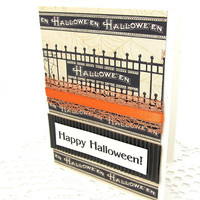 Halloween Card - Happy Halloween - Vintage Style - Gothic Style Halloween - Black and Orange Card - Blank Card - Haunted House - Textured