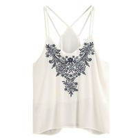 Women Tank Tops Cotton Flower Embroidered Strappy Tank Top Deep V Neck Camisole Tank Tops Cropped Sleeveless Vetement Femme