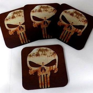 Punisher Skull Bar 4 Coaster Wedding Favor Drink Set Gift Biker Patch COA-0087