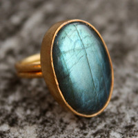 Amazing Green Labradorite Ring Oval Cut Adjustable by OhKuol