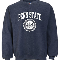 Penn State Crew Neck Sweatshirt Official Seal Heather Navy Nittany Lions (PSU)