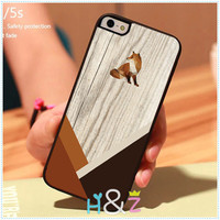 Geometric Fox  Animals Wood Print On Hard Skin Mobile Phone Cases Accessories for iPhone 5c 5s 5 4 4s Case Cover With Free Gift