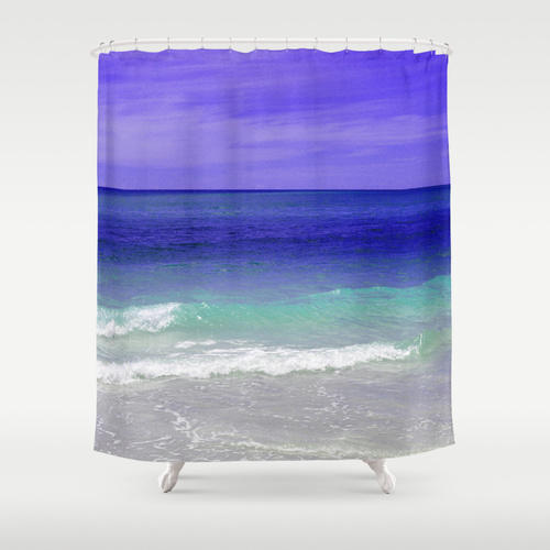 royal blue sea shower curtain from nature city