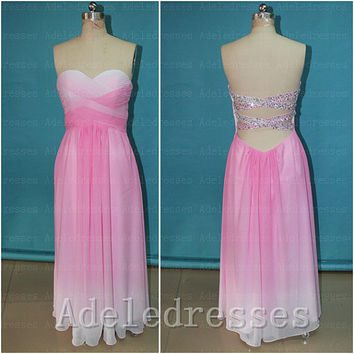 Fashion Pink Ombre Prom Dress 2014,A Line Open Back Long Prom Dresses,Sweetheart Beaded Sexy Evening Dress Gown,Ombre Bridesmaid Dress