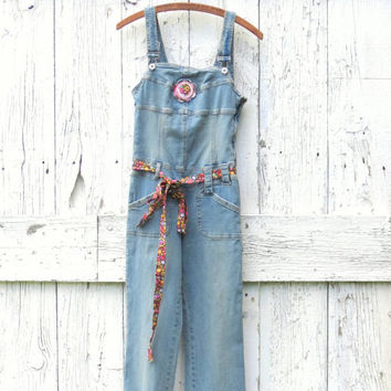 Altered Overalls Womens size XS upcycled denim blue jeans , boho chic clothing eco friendly pants , recycled hippie clothes by wearlovenow