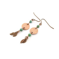 Earrings Antique Copper With Turquoise Wires