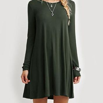 Rounded Neck Long Sleeve Baby Doll Dress - Loose Fit / Pleated
