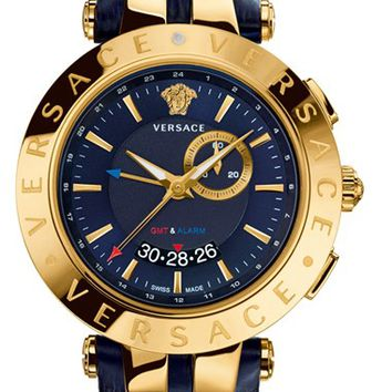 Men's Versace 'V-Race GMT' Round Leather Strap Watch, 46mm - Blue/ Gold
