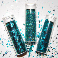 Teal Diamonds, Hexes and Sparkle Glitter Set: SOLVENT RESISTANT Glitter set of 3