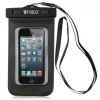 FRiEQ Universal Waterproof Case for Outdoor Activities - Waterproof bag for Apple iPhone 6S, 6S Plus, 6, 6 Plus, 5S, 5C, 5; Galaxy S6, S4, S3; HTC One X, Galaxy Note 3, Note 2; LG G2 - IPX8 Certified to 100 Feet (Black)
