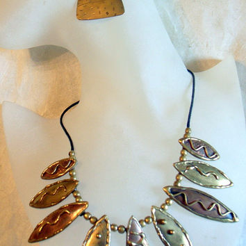 Brutalist Necklace - Mixed Metals - Copper - Brass - Modernist - Mid Century - Abstract SALE