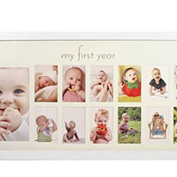 My First Year Baby Photo Frame - White