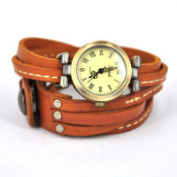 Light Brown Leather Band Watch by Julyjoy
