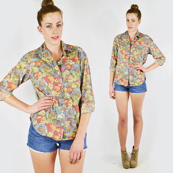 vtg 80s 90s grunge revival preppy SPRING FLORAL print slouchy OVERSIZED button up dress shirt blouse top S M