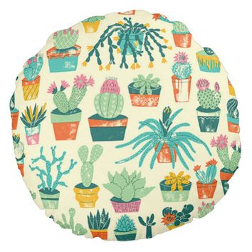 Colorful Cactus Flower Pattern Round Pillow