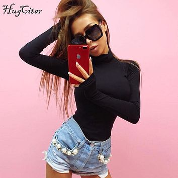 Hugcitar long sleeve high neck skinny bodysuit 2017 autumn winter women black gray solid sexy body suit