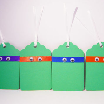 Teenage Mutant Ninja Turtle Gift Tags - TMNT Birthday Decor - TMNT Party Favor Tags - Set of 12