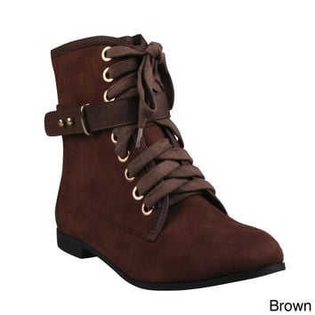 Refresh Women's 'Polly-03' Lace-up Low Heel Ankle Booties