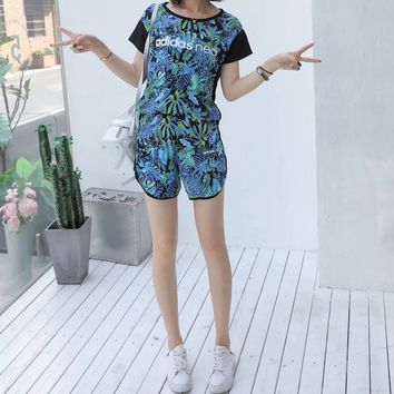 """Adidas Neo"" Women Casual Fashion Multicolor Leaf Print Short Sleeve Shorts Set Two-Piece Sportswear"