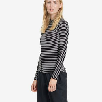 Embla High Cotton Rib Black