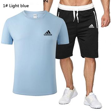 Adidas Summer New Fashion Letter Print Top And Shorts Two Piece Suit Men 1# Light Blue