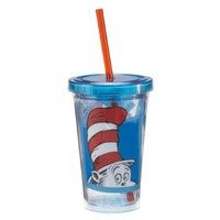 Vandor 17014 Dr. Seuss Cat in the Hat 12 oz Acrylic Travel Cup with Lid and Straw, Red, White, and Blue