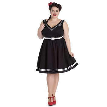 Hell Bunny Pin-up Sailor Anchor & Rope V-neck Ariel Black Flare Dress