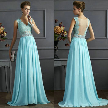 Hot Sale Lace V-neck Slim Backless Prom Dress One Piece Dress [4918234500]