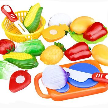 DCCKL72 12PC /Set Plastic Kitchen toy Fruit Vegetable Cutting Kids Pretend Play Toy Educational Cook Cosplay kitchen toys