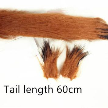 Harajuku Japanese cartoon Anime Fate cosplay fox Ear+tail cosplay Halloween party costumes Ear+tail Tail length 60cm
