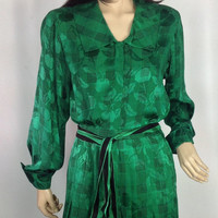 Oscar de la Renta Dress Vintage 80s Dress Miss O Designer Silk Dress Set Neiman Marcus Knife Pleat Skirt Houndstooth Print  size 8 M medium