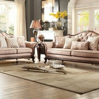 2 pc bonaventure park collection brown chenille fabric upholstered sofa and love seat set with wood trim