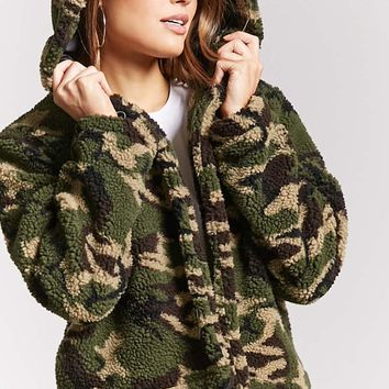 Camo Print Faux Fur Jacket