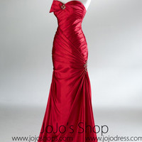 Red Fit And Flare Classy Formal Prom Evening Dress HB2021B