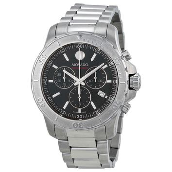 Movado Series 800 Chronograph Black Dial Stainless Steel Mens Watch 2600110